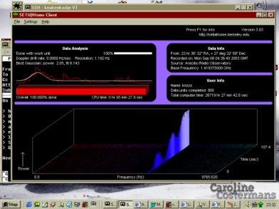 Het resultaat van een SETI-pakketje. Veel ruis, maar ook een sinus-achtig signaal. Weird!