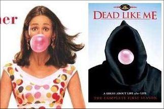 links een stukkie uit de filmposter van 13 going on 30, rechts de DVD-hoes van Dead Like Me. Kijk en vergelijk